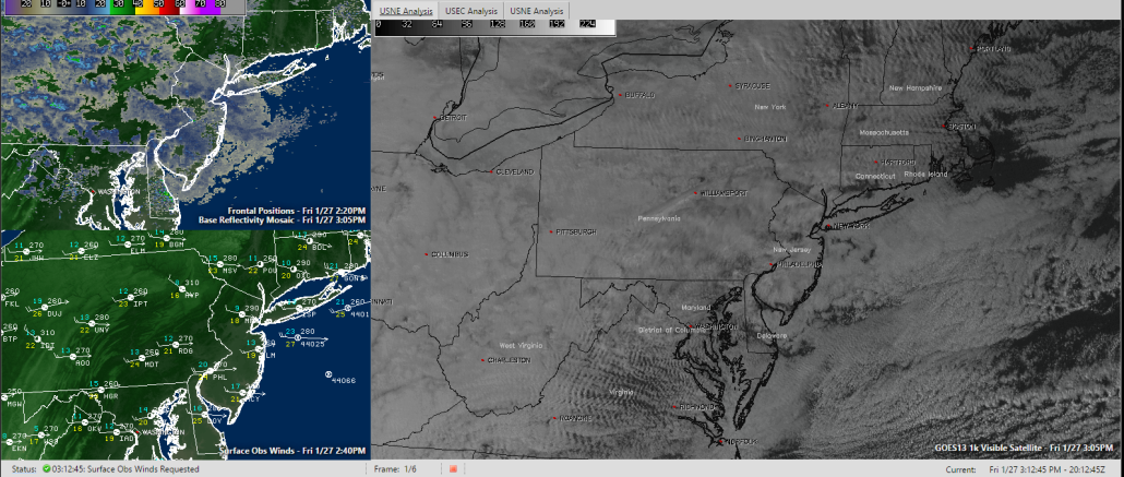 Current Visible Satellite, Regional Radar Mosaic, and Surface Observations (Courtesy of Simuawips.com)