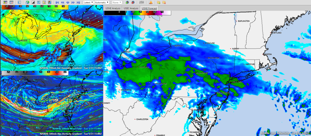 4km NAM showing Composite Reflectivity, 700 mb Relative Humidity & Vectors, and 500mb Heights and Vorticity valid 15z Tuesday