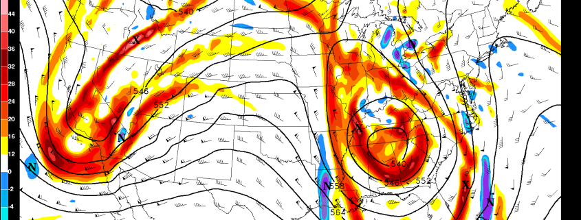 Today's GFS model valid for Monday shows a large cutoff low to our southwest, which may cause a myriad of weather issues across the region.