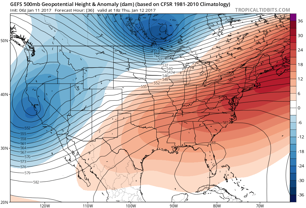 The GEFS at 500mb level showing a strong SE ridge over the East Thursday