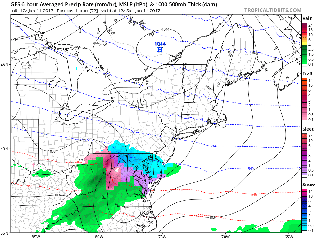 The 12z GFS this morning shows very strong high pressure over Southeast Canada forcing this wave move south of NYC metro region on Saturday.