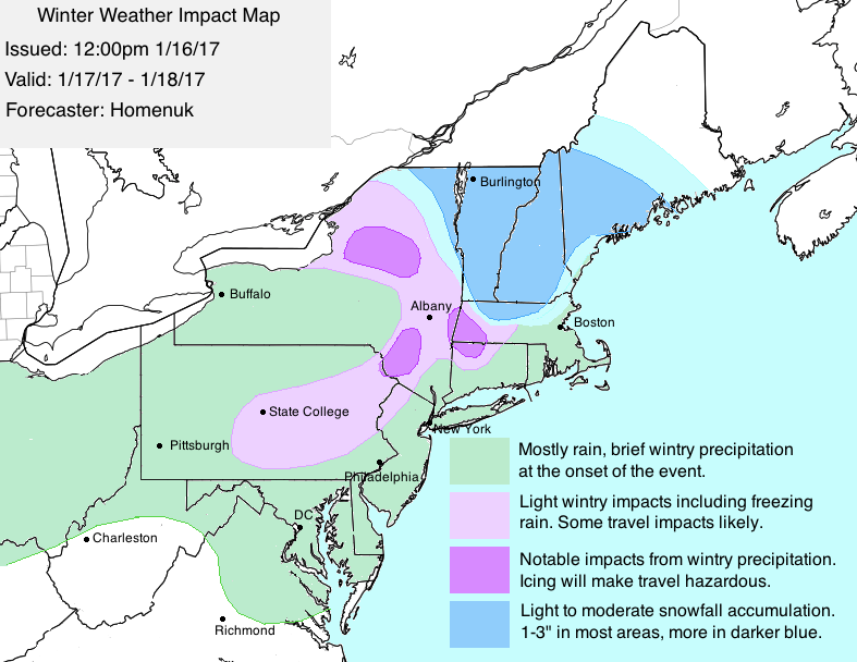 Map of expected impacts (general) from Tuesday into Wednesday.
