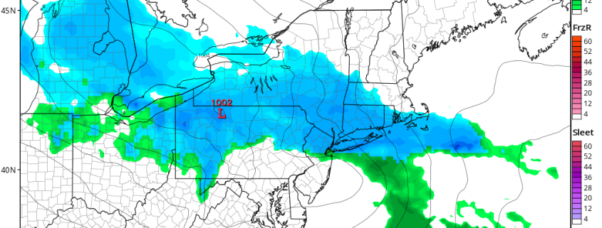Today's NAM valid for Tuesday afternoon shows a light to moderate band of snow overspreading most of the area (Tropical Tidbits).