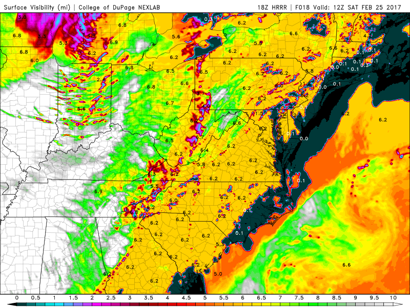 HRRR model showing limited surface visibility tomorrow morning (Valid 7am)