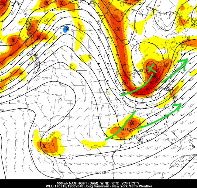 500mb plot showing the slight disconnect between the two pieces of energy, which ultimately halts any significant impacts for the area (Valid 1AM Wednesday)