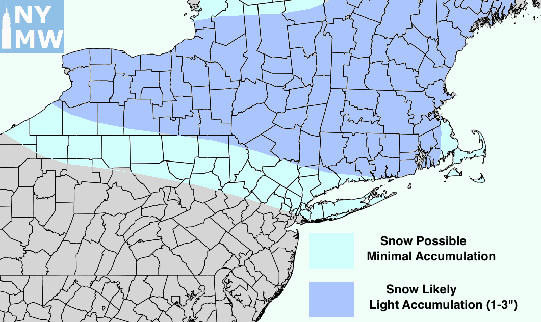 Snowfall accumulation map for Friday, February 10th.