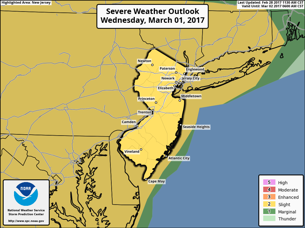 The Storm Prediction Center has placed a large majority of the Mid Atlantic and Northeast in a Slight risk for severe weather on Wednesday afternoon and evening.