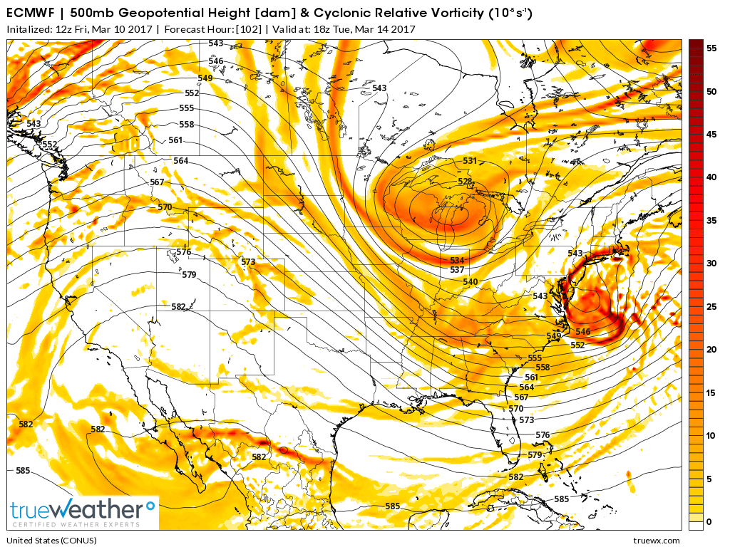 Forecast models suggested that two disturbances, pictured above, would interact and form a very strong storm off the East Coast.