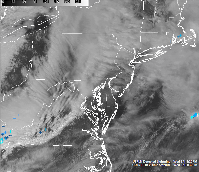Current visible satellite imagery showing clearing begining to take place in PA and parts of NJ (Simuawips.com)