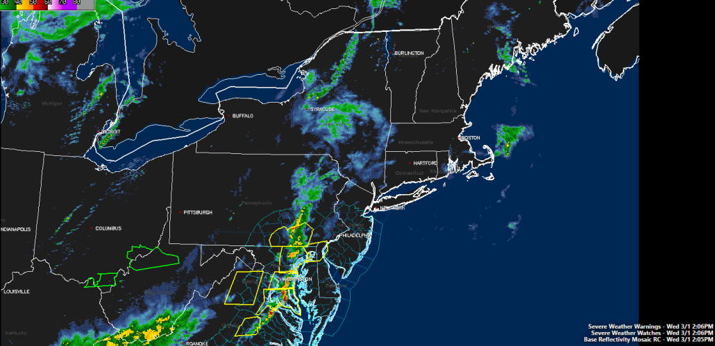 Current look at the radar along with active Severe Thunderstorm Watches and Warnings across the area (Courtesy of Simuawips)