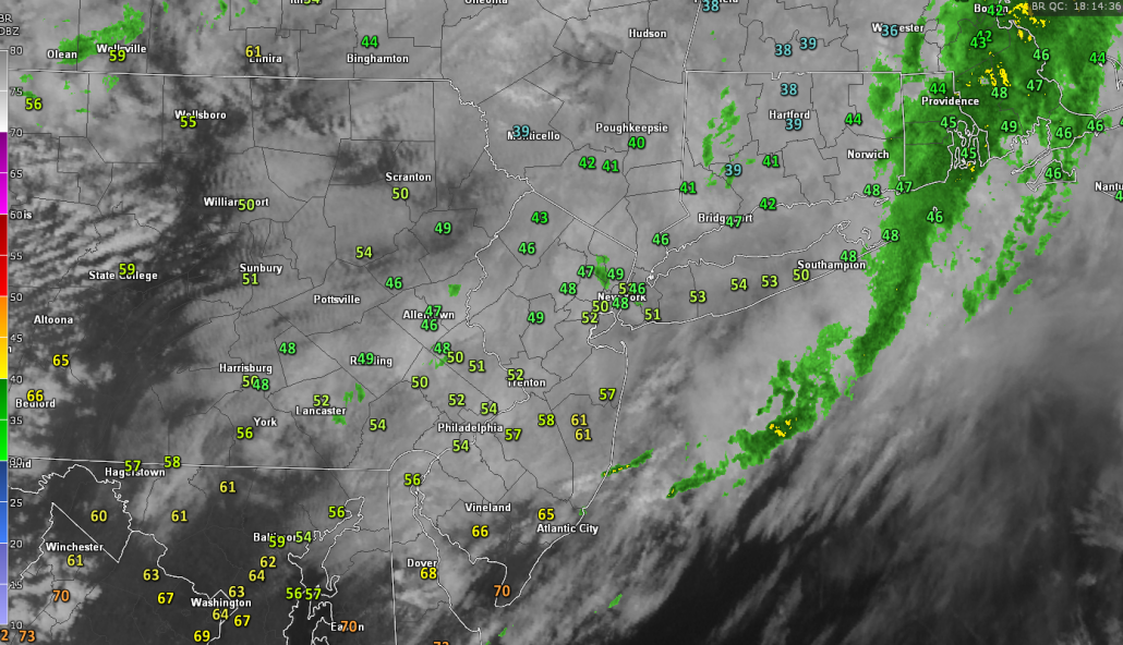 Latest visible satellite, surface temperatures, and regional radar imagery (Valid 2:20pm)