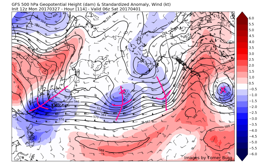 12z GFS showing multiple disturbances lined up all the way back to Japan courtesy of a very active upper level jet