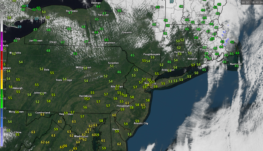 Latest visible satellite imagery, radar mosiac, and current temperatures for the Northeast showing relatively tranquil conditions (Courtesy of GREarth)