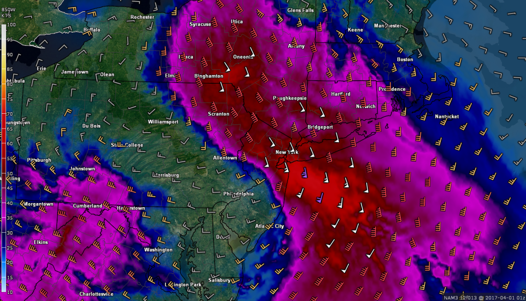 3km NAM showing intense winds of up to 80 mph just above the surface later this evening. Wind of 40 to 50 mph will be possible in the heaviest downpours (Valid 9pm)