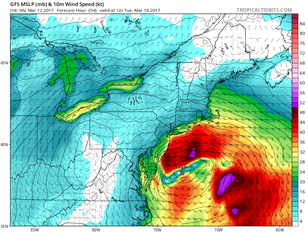 6z GFS model showing strong east-northeast winds impacting the coastline early Tuesday morning