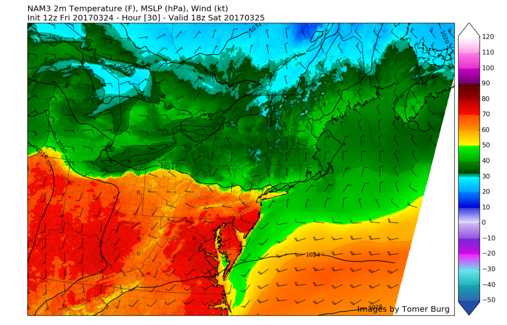 3km NAM valid tomorrow afternoon showing the stalled frontal system over SNY, with cool temperatures to the north and much warmer temperatures to the south of the front