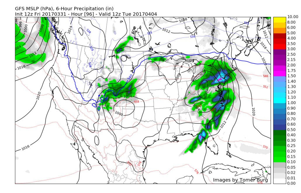 12z GFS for Monday evening showing another storm system with heavy rain and possible flooding concerns