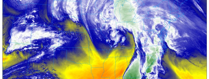 The GOES 16 Water Vapor Imagery as of 7:20pm EDT shows a very impressive storm system with quite the expansive moisture feed (NEXLAB).