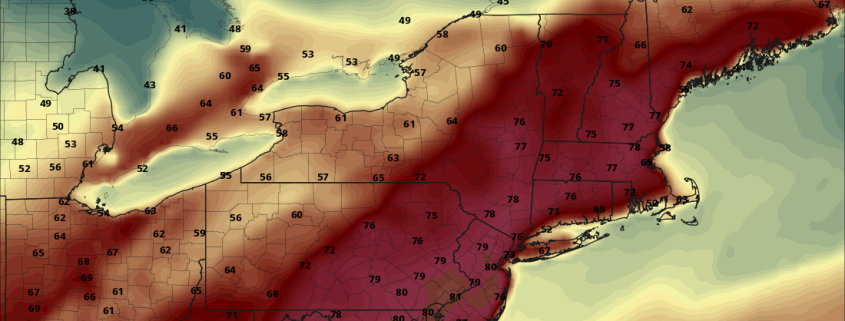 Today's NAM model valid for Tuesday afternoon shows some 80s west of NYC (Pivotal Weather).