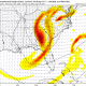 Today's GFS model shows the cut-off low gaining strength in the Southeast on Monday morning. (Tropical Tidbits)