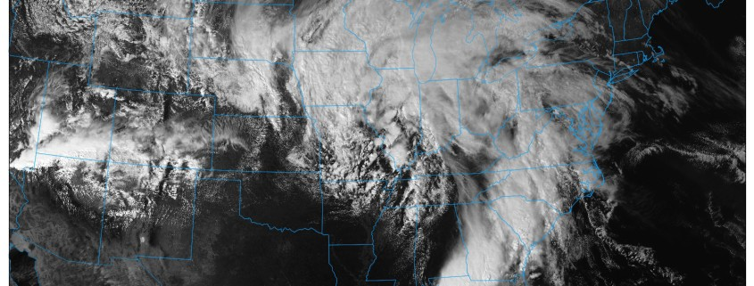 The GOES 16 Satellite imagery shows our powerful storm system developing in the Central US (NEXLAB).