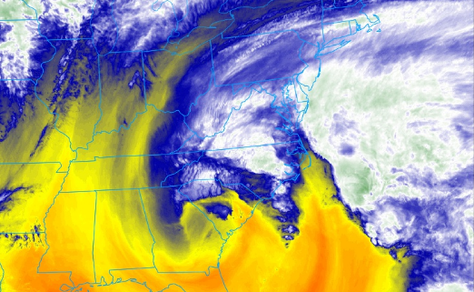 The GOES 16 water vapor as of 7:00pm EDT shows our strong cutoff low developing and hammering the East Coast (NEXLAB/COD)