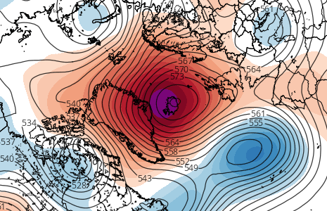 The 18z 4/27 GEFS valid for Thursday morning shows a large -NAO block near Greenland (Tropical Tidbits).