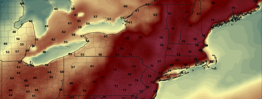 Today's NAM Model valid for Tuesday afternoon shows quite warm conditions for the entire Northeast (Pivotal Weather).