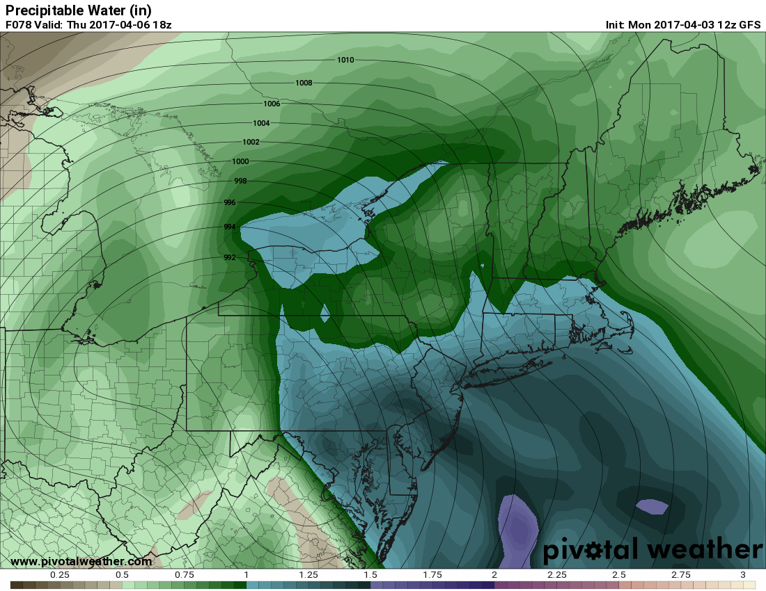 "Today's GFS model valid for Thursday afternoon shows precipitable water values well over 1"", which is very favorable for heavy downpours (Pivotal Weather)."