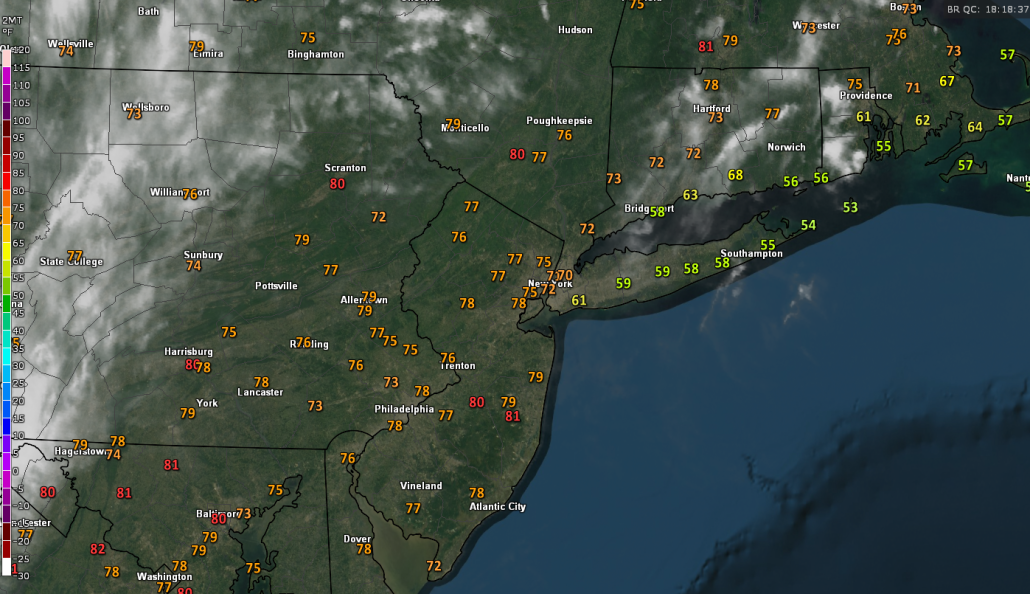 Current surface temperatures, regional radar, and visible satellite imagery over the region showing a relatively pleasant Spring afternoon (Courtesy of GREarth)