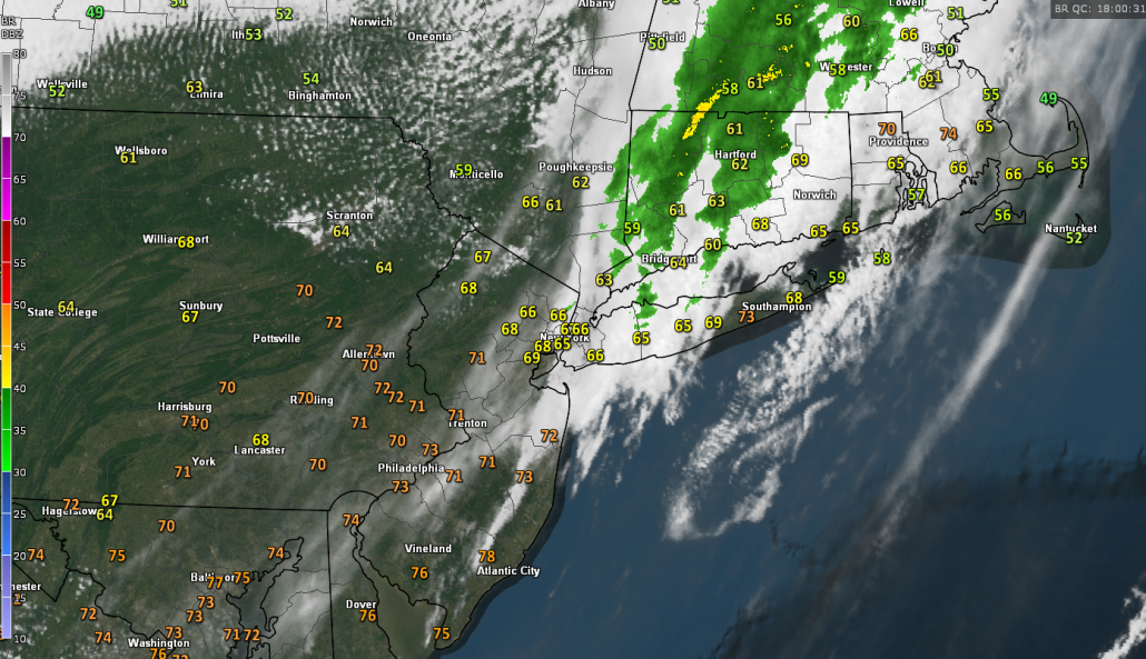 Current surface temperatures, regional radar mosaic, and visible satellite imagery showing rather rapid clearing taking place behind the weak upper-level disturbance (Courtesy of GREarth)