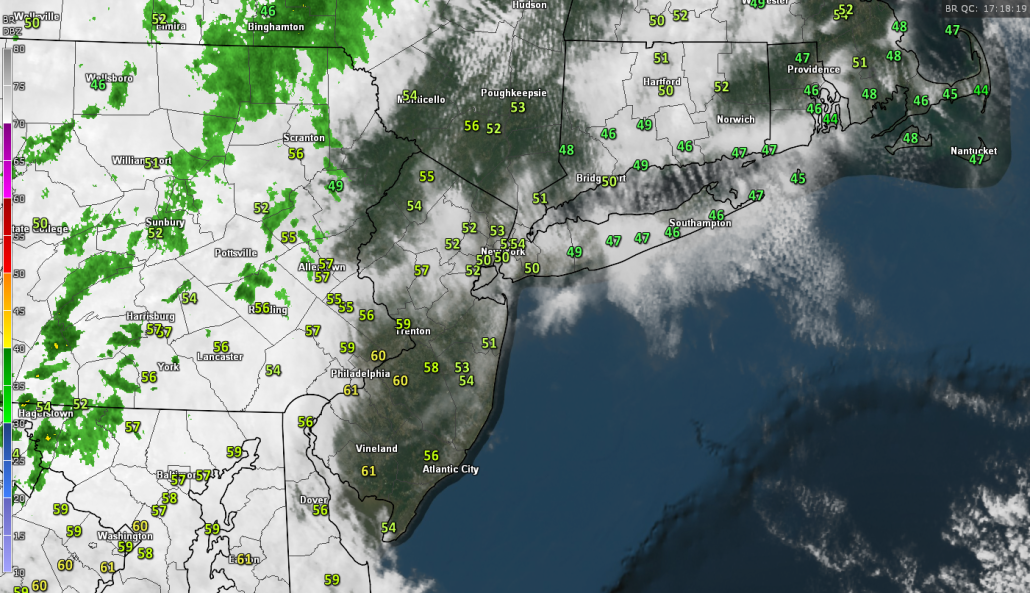 Latest visible satellite imagery, surface temperatures, and regional radar mosaic showing a relatively cool Spring day (Courtesy of GREarth)