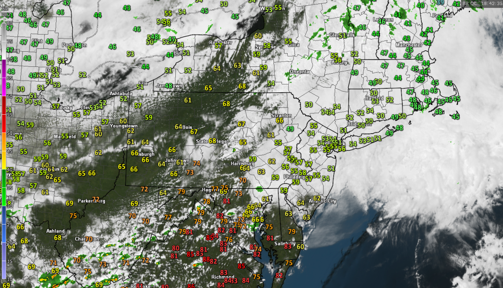 Latest surface temperatures, regional radar mosaic, and visible satellite imagery across the Northeast showing the very stark temperature gradient in place this afternoon (Courtesy of GREarth)