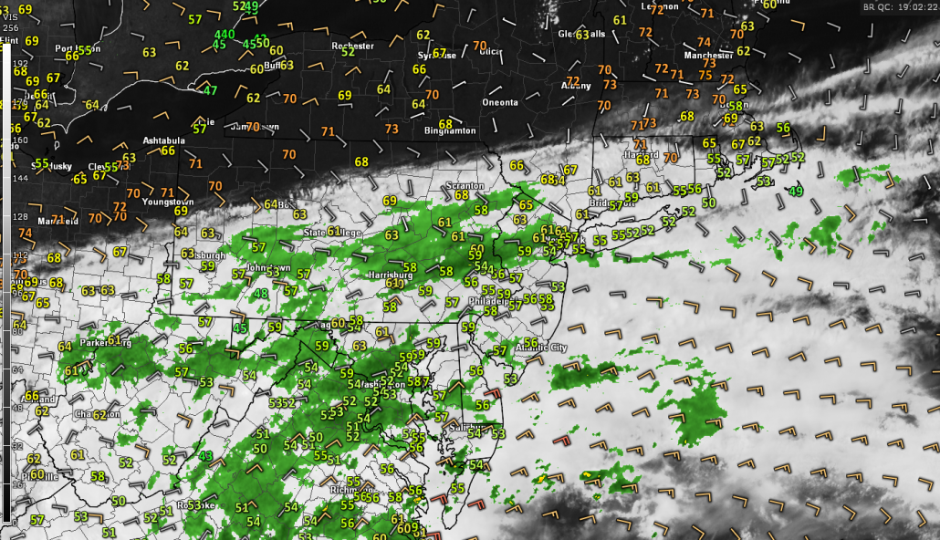Latest regional radar mosaic, visible satellite imagery, surface winds, and surface temperatures showing the beginnings of the coastal lows influence on our area's weather (Courtesy of GREarth)