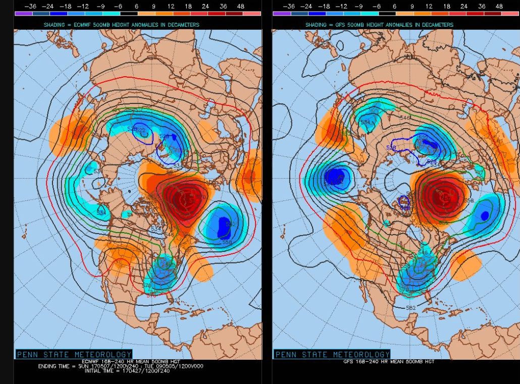 GFS and ECMWF ensembles both agreeing on an extended period of a negative NAO, which could promote cool and stormy weather in the east