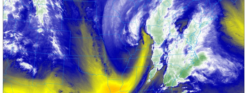 The GOES16 Water Vapor Imagery as of 9:50pm Wednesday shows a very powerful storm moving our way (NEXLAB)