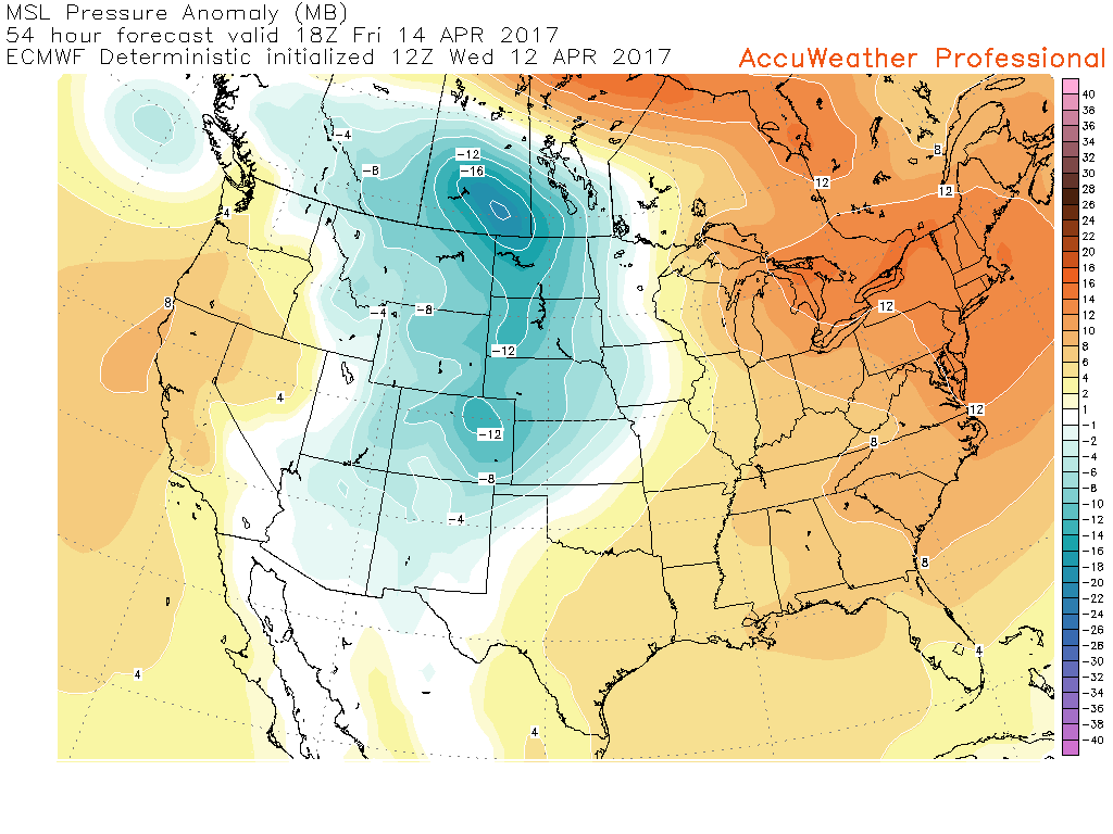 12z European model showing the area of high pressure centered over the Northeast on Friday afternoon. (Courtesy of Accuweather Pro)
