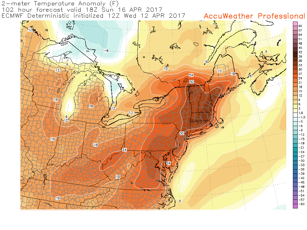 12z European model showing temperature anomalies ranging from 20-30 degrees above normal on Sunday afternoon with temperatures possibly reaching into the 80's once again (Courtesy of Accuweather Pro)
