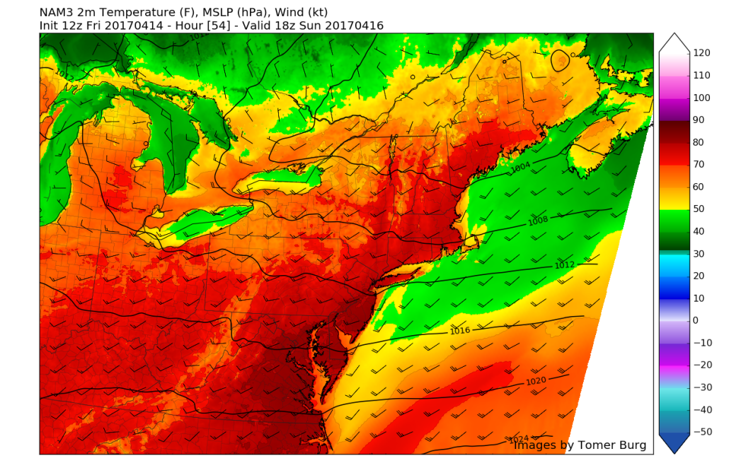 This afternoons 3km NAM showing temperatures in the upper 70's to mid 80's across the entire area for Easter Sunday