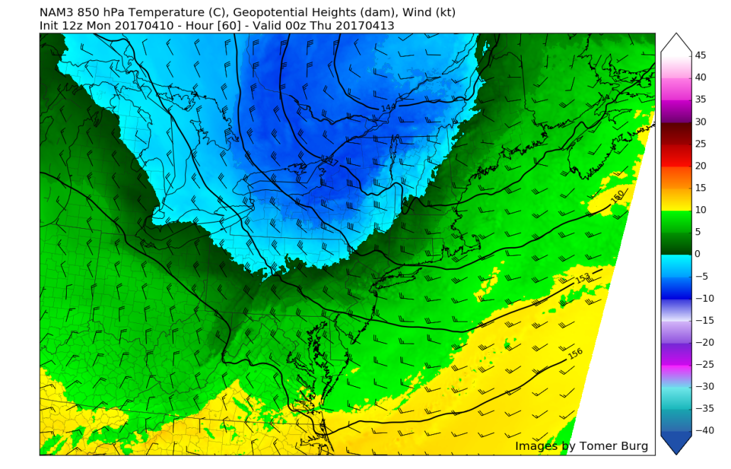12z 3km NAM showing much cooler temperatures just 5000 feet above the surface working their way into the region by Wednesday evening (Valid 8pm Wednesday)