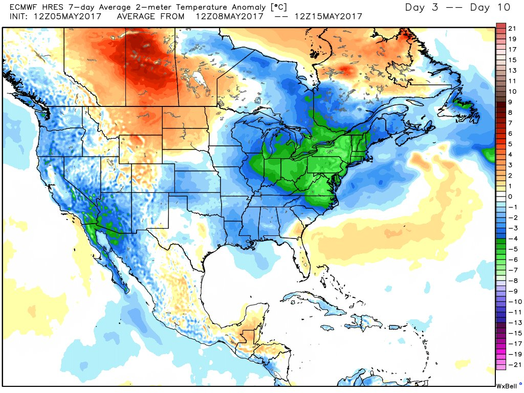 This afternoons European model showing below-normal temperatures over the next week for the Northeast US, courtesy of a large upper-level low parked over the region (Image Credit: Ryan Maue)
