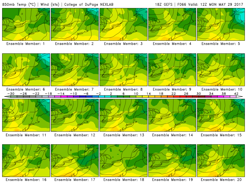 This afternoons individual GFS ensemble members showing a very wide range of possibilities regarding the positioning of key frontal boundaries