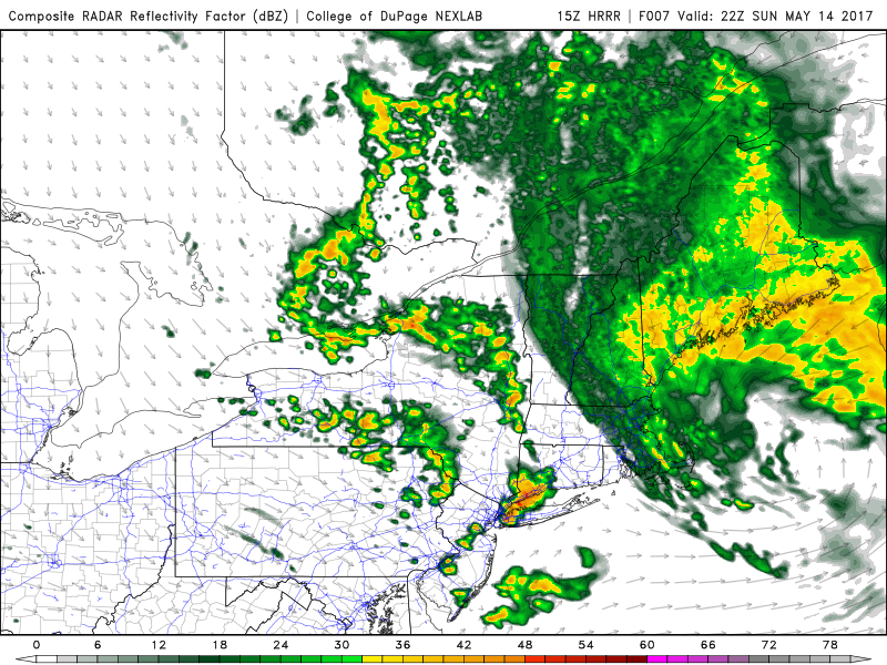 HRRR model showing storms impacting the NYC region today.
