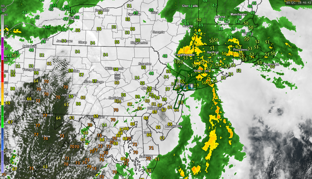 Latest regional radar mosaic, surface temperatures, visible satellite imagery , and NWS Flood Warnings (in green) showing the heavy rains finally pushing out of the area (Courtesy of GREarth)
