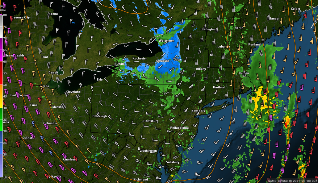 This afternoons high resolution NAM model, showing unstable conditions underneath with rain/snow showers possible for locations to the North and West (Valid 8pm Sunday)