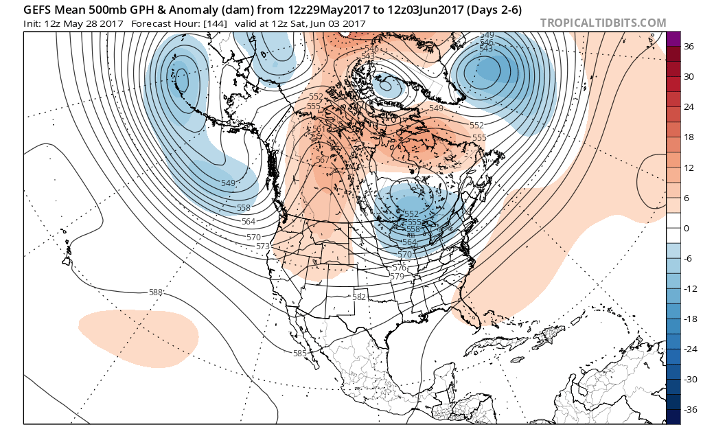 GFS ensembles showing ridge over Western Canada for mid-late week period