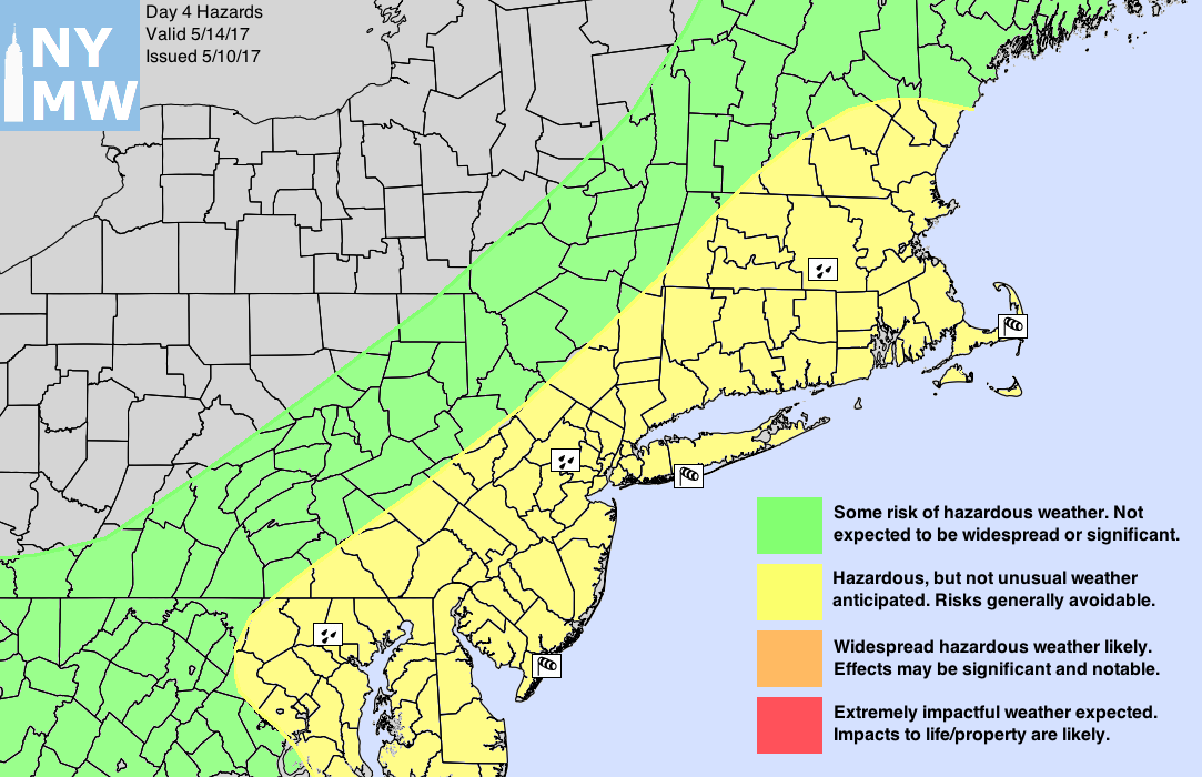 Day 4 Hazards Map showing risks for rain and wind along the coast on Saturday.
