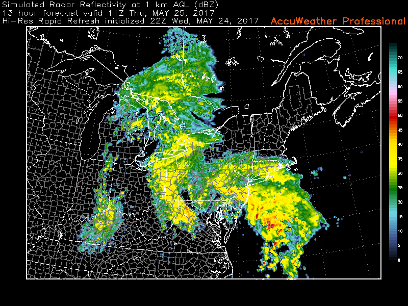 This evenings High Resolution Rapid Refresh Model, showing a batch of very heavy showers and isolated thunderstorms moving across the area during the morning commute hours