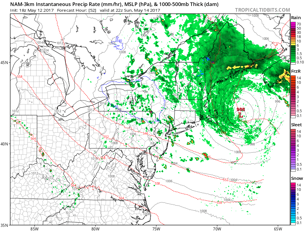 3km NAM showing some scattered showers and isolated thunderstorms possible early Sunday evening