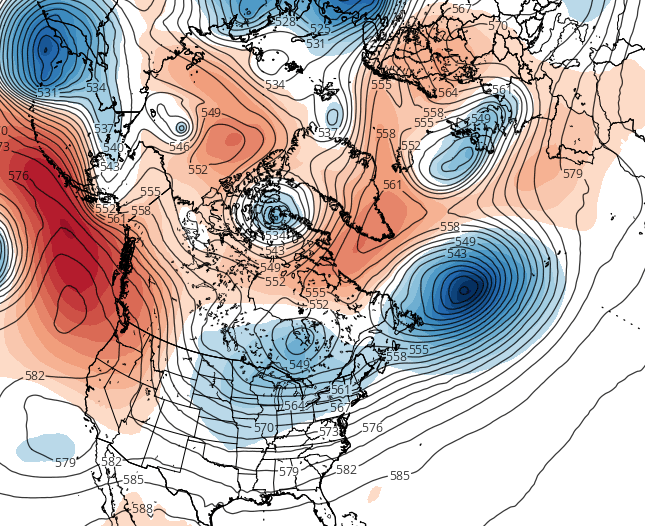 European Model 500mb Height Anomalies, showing a return to high-latitude blocking and a return to cooler weather once again